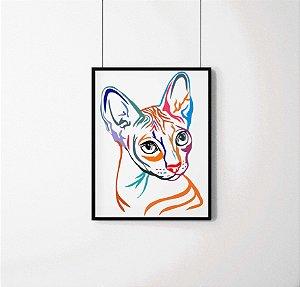 Quadro Decorativo Animais- Colourful Cat.