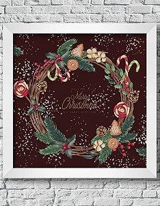Quadro Decorativo Decoração de Natal Moldura Natalina Com Enfeites