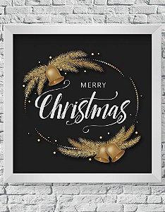 Quadro Decorativo Decoração de Natal Merry Christmas With Bells Ornaments