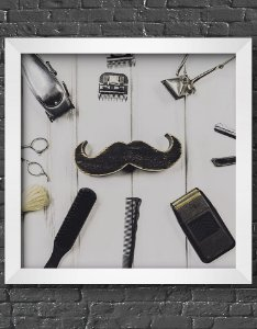 Quadro Decorativo Para Barbearia Moustache & Barbershop Equipment
