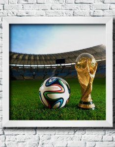 Quadro Decorativo Times de Futebol- Taça do Mundo e Bola da Copa.