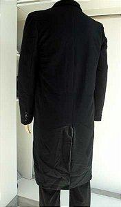 Sobretudo preto em poliéster felpudo, modelo inglês de ótima qualidade, cod. 602