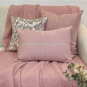 Kit Poá Rosa Blush e Cotone Flores Rosa Blush