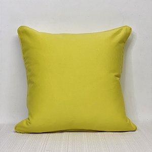 Capa Para Almofada Brim Amarelo Com Vivo