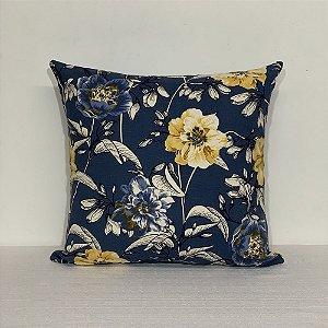 Capa Para Almofada Cotone Flores Azul/Amarelo