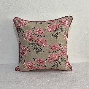 Capa Para Almofada Florata Flores Rosé Com Vivo