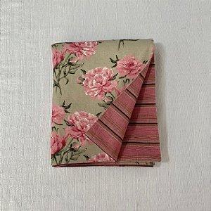 Peseira Dupla Face Florata Flores Rosé