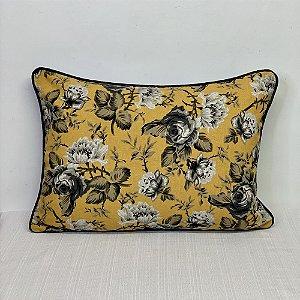 Porta Travesseiro Dupla Face Roseira Amarelo/Cinza
