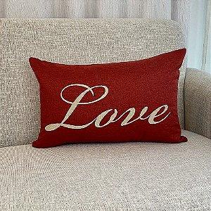Capa Para Almofada Vermelha Bordada Love