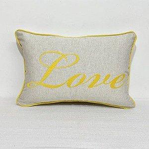 Capa Para Almofada Bordada Love Amarelo