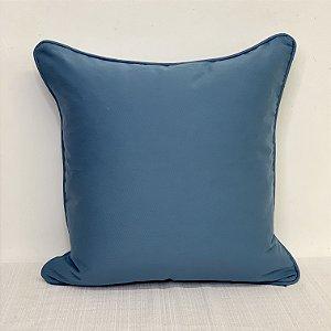Capa Para Almofada Brim Azul Cobalto Com Vivo