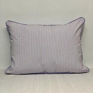 Porta Travesseiro Dupla Face Listrinha Branco/Lavanda