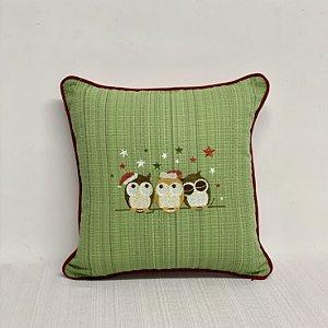 Capa Para Almofada Natal Verde Bordada  Corujinhas