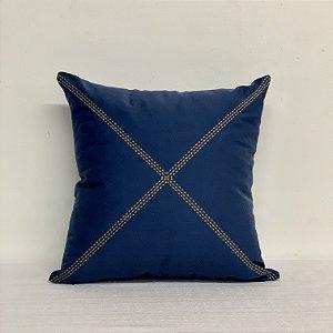 Capa Para Almofada Bordada Xis Azul/Caqui