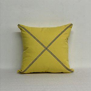 Capa Para Almofada Bordada Xis Amarelo/Azul