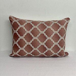 Porta Travesseiro Dupla Face Geométrico Rosa Blush