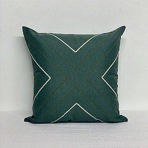 Capa Para Almofada Verde Bordada Seta