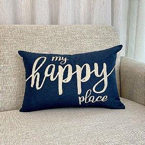 Capa Para Almofada  Marinho Bordada My Happy Place