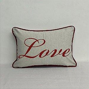 Capa Para Almofada Bordada Love Vermelha