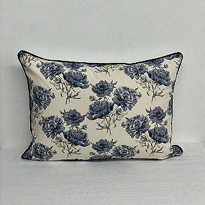 Porta Travesseiro Florata Flores Azul