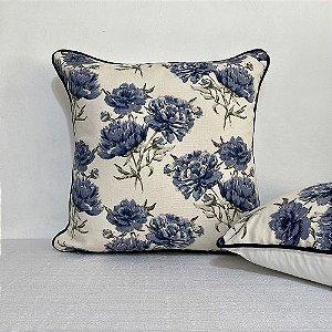 Capa Para Almofada Com Vivo Florata Flores Azul