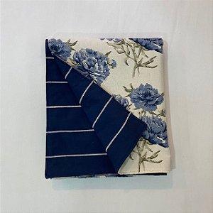 Peseira Dupla Face Florata Flores Azul