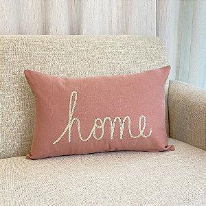 Capa Para Almofada Rosa Blush Bordada Home