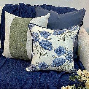 Kit Padrão Florata Flores Azul e Listra