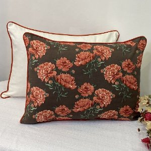 Porta Travesseiro Dupla Face  Florata Flores Marrom