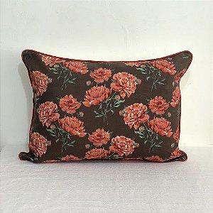 Porta Travesseiro Florata Flores Marrom