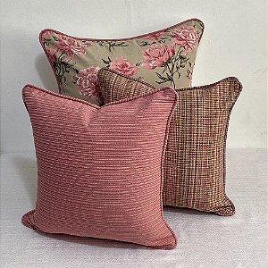 Kit Big Florata Flores Rosé E Gorgurão