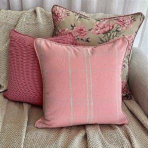 Kit Big Florata Flores Rosé E Xadrez Rosé