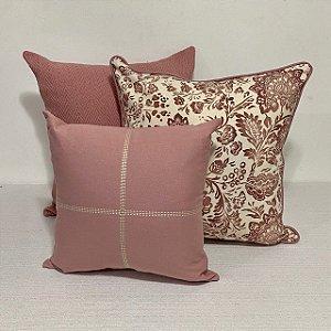 Kit Big Cotone Flores Rosa Blush e Bordada Cruz Rosa Blush