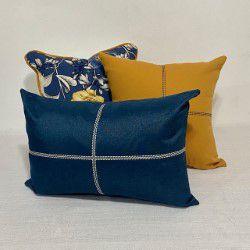 Kit Padrão Cotone Flores Azul e Amarelo