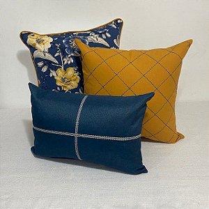 Kit Big Cotone Flores Azul e Amarelo e Bordada Losango