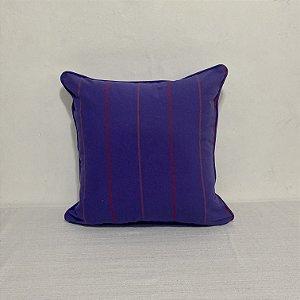 Capa Para Almofada Com Vivo Listra Violeta e Vermelho