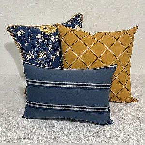Kit Big Cotone Flores Azul e Amarelo e Listra Indigo