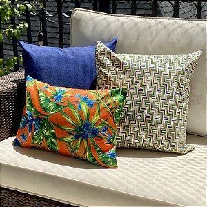 Kit Impermeável Flores Laranja e Geométrico Azul e Verde