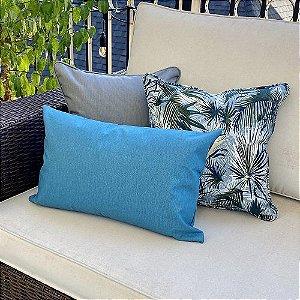 Kit Impermeável Folhagem Azul Maldiva e Baguete Azul Liso