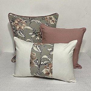 Kit Big Cotone Flores Rosa Blush e Cinza e Liso Rosa Blush