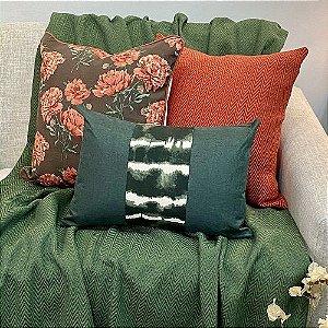Kit Big Florata Flores Marrom e Listra Vertical Tai Dai Verde