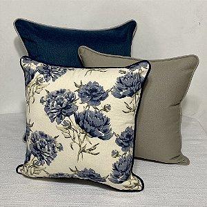 Kit Padrão Florata Flores Azul e Liso Cinza