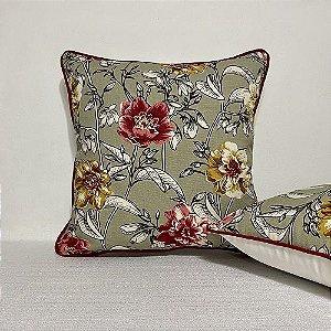 Capa Para Almofada Com Vivo Cotone Flores Mostarda e Vermelho