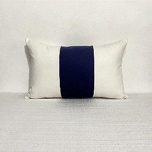 Capa Para Almofada Faixa Vertical Cotone Azul Marinho