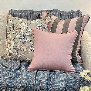 Kit Big Cotone Flores Cinza e Rosa Blush e Listra