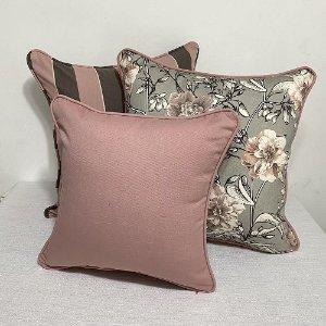 Kit Big Cotone Flores Rosa Blush e Cinza e Listra