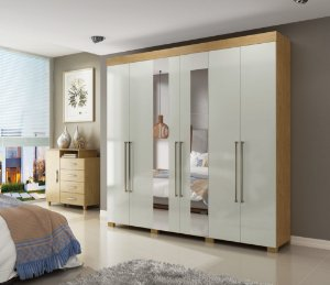 Guarda-roupa Casal-Itá com 6 portas + espelho  visão moveis