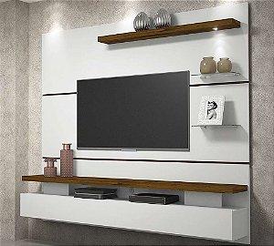 Painel Home Suspenso Dj Móveis Greco Para Tv Até 65'' 1 Porta Basculante 1 Luminária Em Led