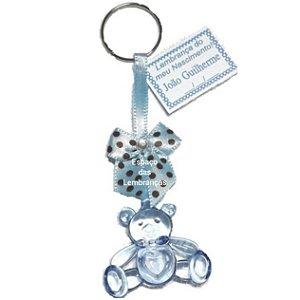 10 Ursinho Chaveiro Lembrancinha Chá de Bebê Nascimento Azul