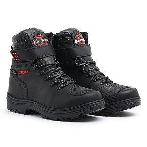 Bota em Couro Linha Motoqueiro Bell Boots Masculina - Preto